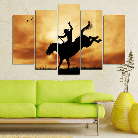 Canvas prints & wall decorative panels - 5 pieces №0070 » Orange, Brown, Black, Beige » Animal, Horse, Shadow, Rodeo Form #1