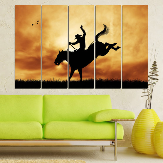 Canvas prints & wall decorative panels - 5 pieces №0070 » Orange, Brown, Black, Beige » Animal, Horse, Shadow, Rodeo Form #2