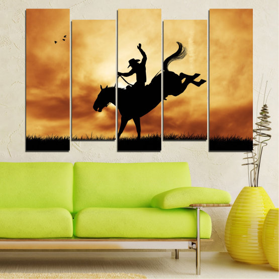Canvas prints & wall decorative panels - 5 pieces №0070 » Orange, Brown, Black, Beige » Animal, Horse, Shadow, Rodeo Form #3
