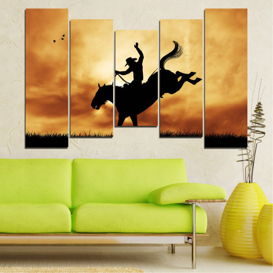 Canvas prints & wall decorative panels - 5 pieces №0070 » Orange, Brown, Black, Beige » Animal, Horse, Shadow, Rodeo Form #4