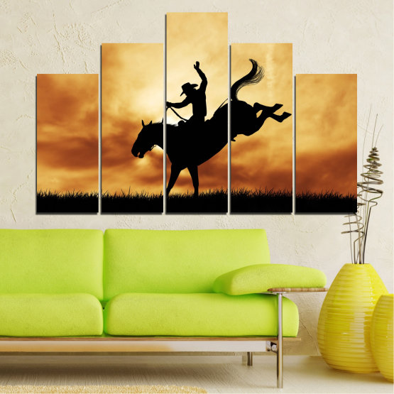 Canvas prints & wall decorative panels - 5 pieces №0070 » Orange, Brown, Black, Beige » Animal, Horse, Shadow, Rodeo Form #5