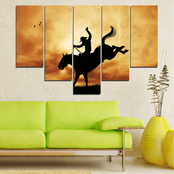 Canvas prints & wall decorative panels - 5 pieces №0070 » Orange, Brown, Black, Beige » Animal, Horse, Shadow, Rodeo Form #6