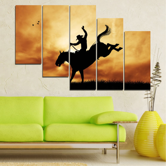 Canvas prints & wall decorative panels - 5 pieces №0070 » Orange, Brown, Black, Beige » Animal, Horse, Shadow, Rodeo Form #7
