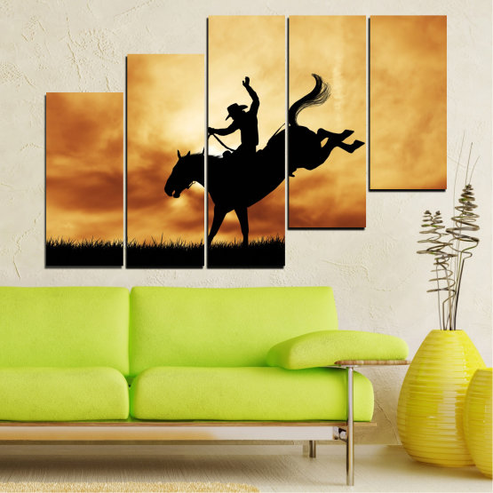 Canvas prints & wall decorative panels - 5 pieces №0070 » Orange, Brown, Black, Beige » Animal, Horse, Shadow, Rodeo Form #8