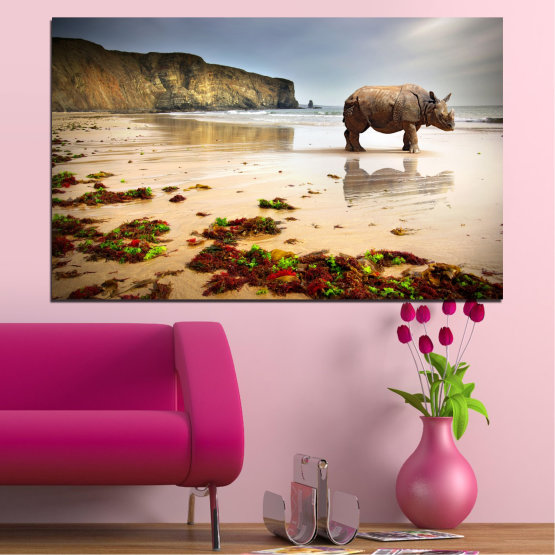 Canvas prints & wall decorative panels - 1 piece №0005 » Brown, Gray, Beige » Animal, Beach, Africa, Seaside, Rhino Form #1