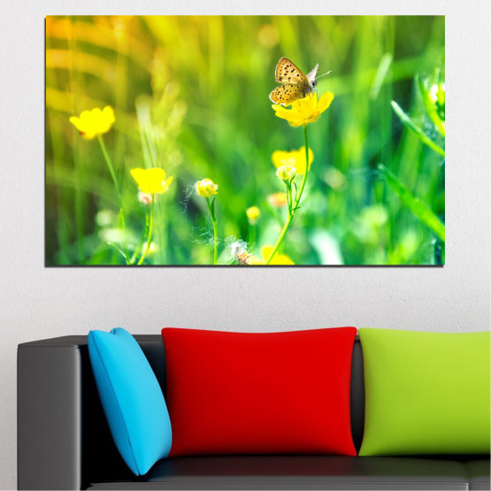 Canvas prints & wall decorative panels - 1 piece №0007 » Green, Yellow » Flowers, Nature, Butterfly, Meadow Form #1