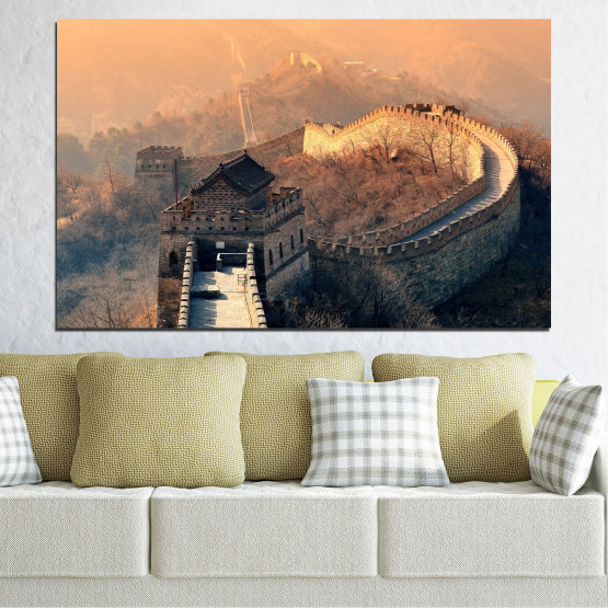 Canvas prints & wall decorative panels - 1 piece №0008 » Black, Gray, Beige, Dark grey » Landmark, Аsia, China Form #1