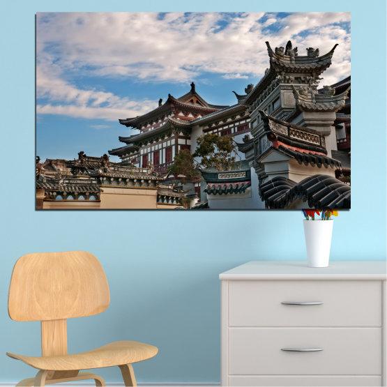 Декоративни панели и картини от канава - от 1 част №0009 » Тюркоаз, Черен, Сив, Тъмно сив » Къща, Япония, Азия Form #1