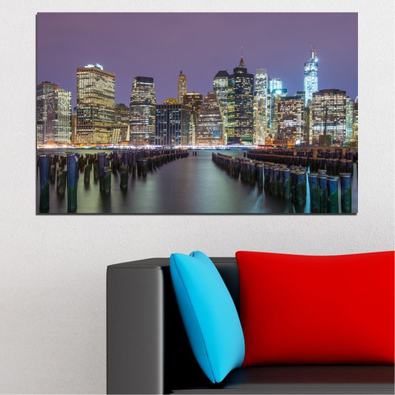 Canvas prints & wall decorative panels - 1 piece №0010 » Purple, Brown, Black, Gray, Dark grey » Water, City, New york, Night, Skyscraper, Usa Form #1