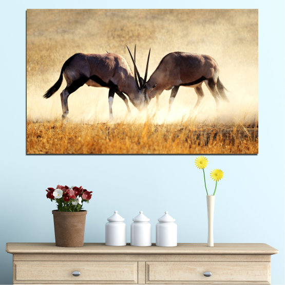 Canvas prints & wall decorative panels - 1 piece №0012 » Orange, Brown, Gray, White, Beige » Animal, Africa, Antelope Form #1