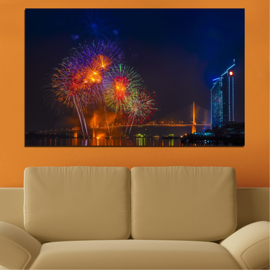 Canvas prints & wall decorative panels - 1 piece №0013 » Red, Brown, Black, Dark grey » City, Night, Fireworks Form #1