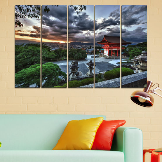 Canvas prints & wall decorative panels - 5 pieces №0071 » Green, Black, Gray, Dark grey » Nature, House, Аsia, China Form #2