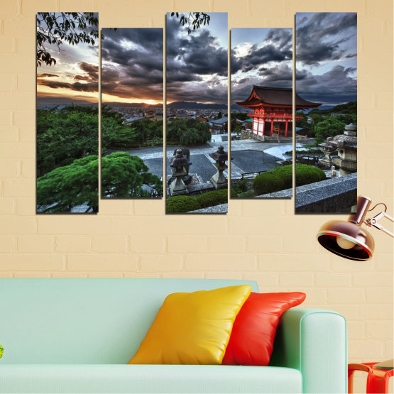 Canvas prints & wall decorative panels - 5 pieces №0071 » Green, Black, Gray, Dark grey » Nature, House, Аsia, China Form #3