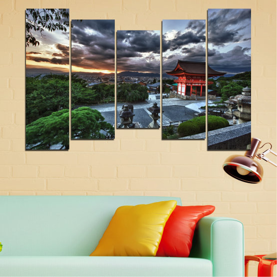 Canvas prints & wall decorative panels - 5 pieces №0071 » Green, Black, Gray, Dark grey » Nature, House, Аsia, China Form #4