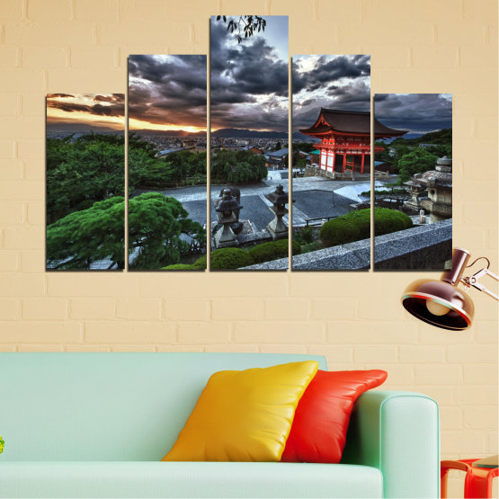 Canvas prints & wall decorative panels - 5 pieces №0071 » Green, Black, Gray, Dark grey » Nature, House, Аsia, China Form #5