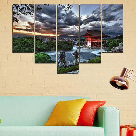 Canvas prints & wall decorative panels - 5 pieces №0071 » Green, Black, Gray, Dark grey » Nature, House, Аsia, China Form #6