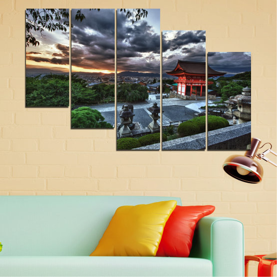 Canvas prints & wall decorative panels - 5 pieces №0071 » Green, Black, Gray, Dark grey » Nature, House, Аsia, China Form #7