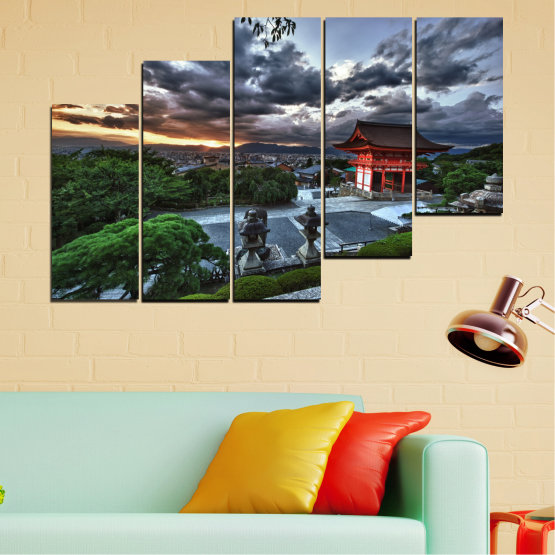 Canvas prints & wall decorative panels - 5 pieces №0071 » Green, Black, Gray, Dark grey » Nature, House, Аsia, China Form #8
