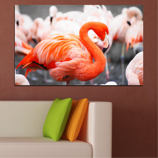 Canvas prints & wall decorative panels - 1 piece №0014 » Orange, Gray, White, Beige, Dark grey » Africa, Birds, Flamingo Form #1