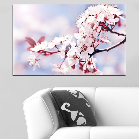Canvas prints & wall decorative panels - 1 piece №0016 » Gray, White, Dark grey » Flowers, Spring, Tree, Fresh Form #1
