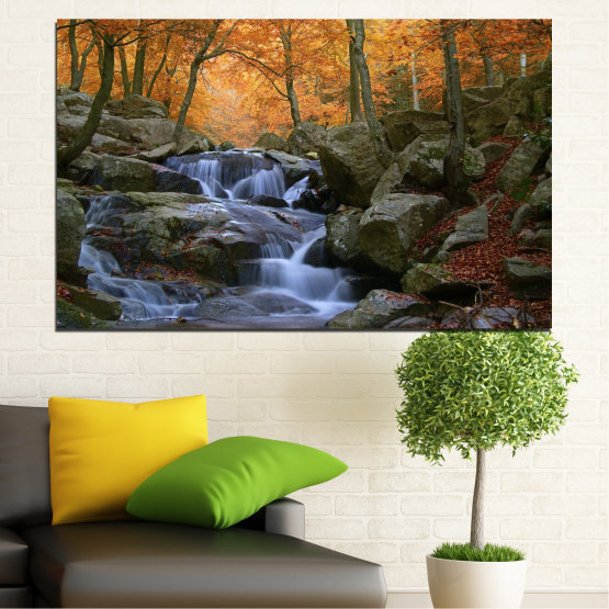 Canvas prints & wall decorative panels - 1 piece №0018 » Brown, Black, Gray, Dark grey » Waterfall, Water, Forest, Autumn, Rocks Form #1