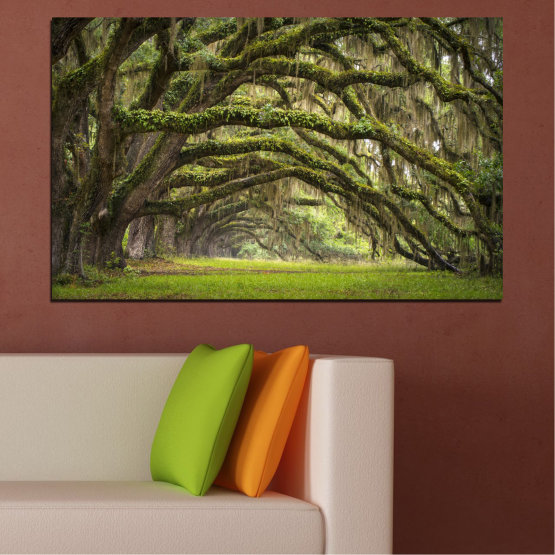 Canvas prints & wall decorative panels - 1 piece №0019 » Green, Brown, Black, Dark grey » Nature, Forest, Tree Form #1