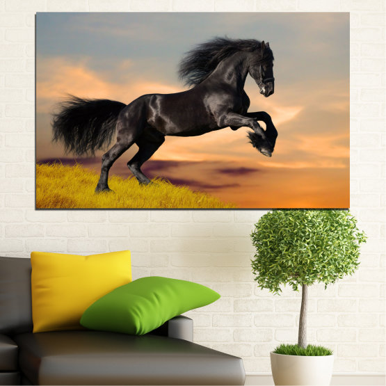 Canvas prints & wall decorative panels - 1 piece №0022 » Orange, Black, Gray, Beige, Dark grey » Horse, Animal, Meadow, Animals, Grass, Black Form #1