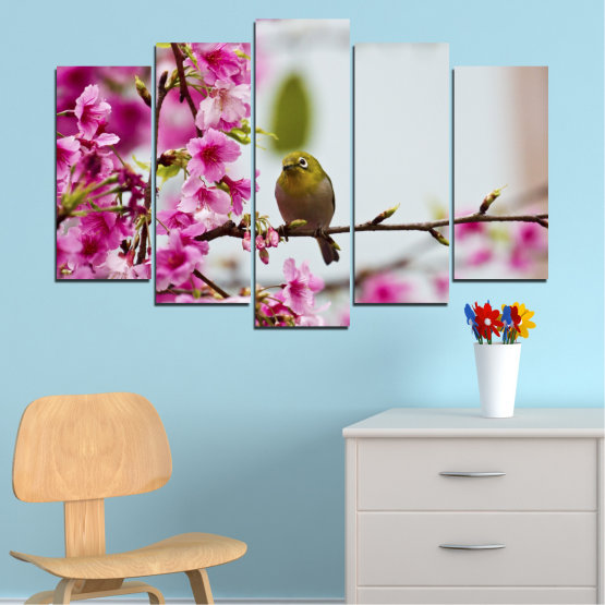 Canvas prints & wall decorative panels - 5 pieces №0072 » Pink, Purple, Gray, Milky pink » Flowers, Nature, Tree, Spring, Birds Form #1