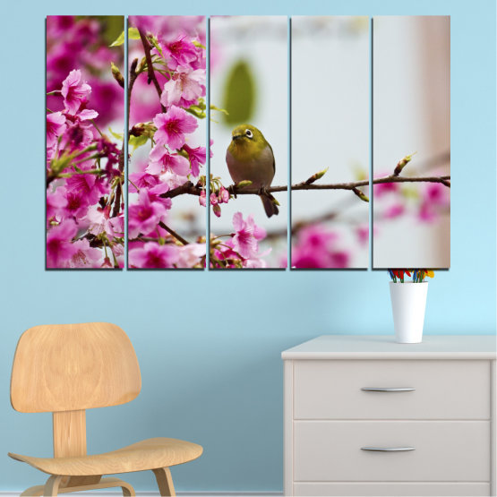 Canvas prints & wall decorative panels - 5 pieces №0072 » Pink, Purple, Gray, Milky pink » Flowers, Nature, Tree, Spring, Birds Form #2