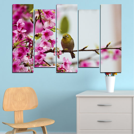 Canvas prints & wall decorative panels - 5 pieces №0072 » Pink, Purple, Gray, Milky pink » Flowers, Nature, Tree, Spring, Birds Form #3