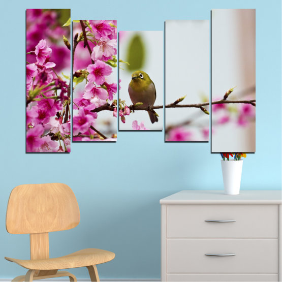 Canvas prints & wall decorative panels - 5 pieces №0072 » Pink, Purple, Gray, Milky pink » Flowers, Nature, Tree, Spring, Birds Form #4