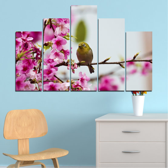 Canvas prints & wall decorative panels - 5 pieces №0072 » Pink, Purple, Gray, Milky pink » Flowers, Nature, Tree, Spring, Birds Form #5