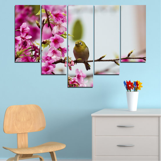 Canvas prints & wall decorative panels - 5 pieces №0072 » Pink, Purple, Gray, Milky pink » Flowers, Nature, Tree, Spring, Birds Form #6