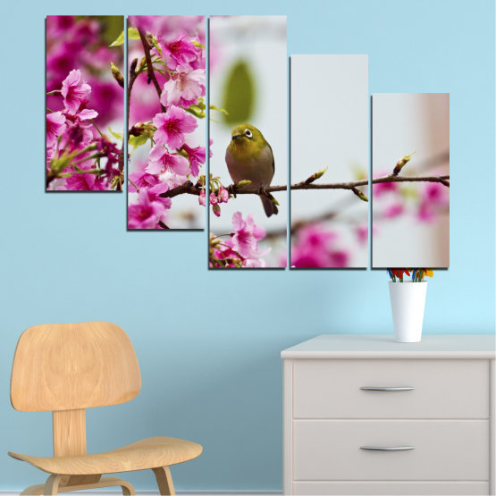 Canvas prints & wall decorative panels - 5 pieces №0072 » Pink, Purple, Gray, Milky pink » Flowers, Nature, Tree, Spring, Birds Form #7