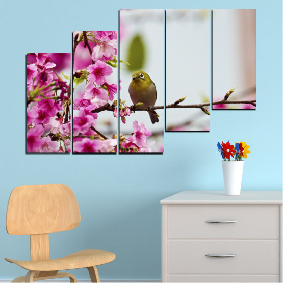 Canvas prints & wall decorative panels - 5 pieces №0072 » Pink, Purple, Gray, Milky pink » Flowers, Nature, Tree, Spring, Birds Form #8