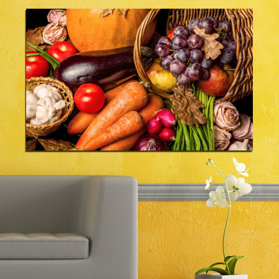 Canvas prints & wall decorative panels - 1 piece №0025 » Orange, Brown, Black, Beige » Still life, Culinary, Autumn, Vegetables Form #1