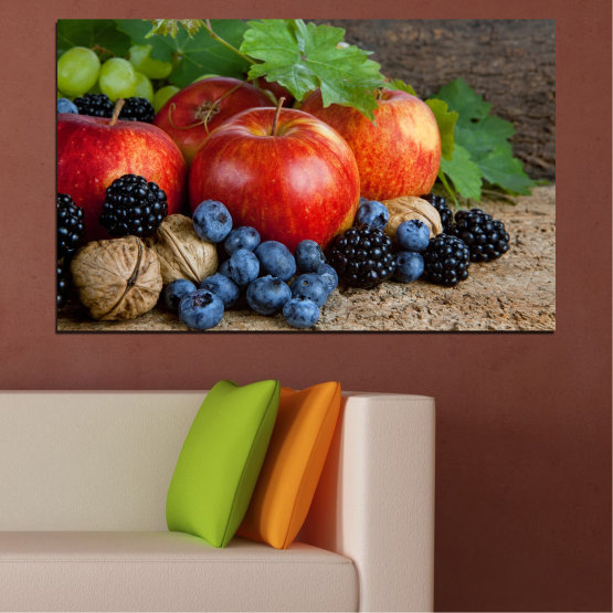 Canvas prints & wall decorative panels - 1 piece №0026 » Green, Brown, Black, Gray, Dark grey » Still life, Culinary, Fresh, Fruits Form #1