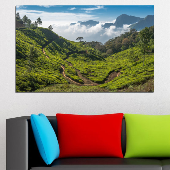 Canvas prints & wall decorative panels - 1 piece №0028 » Green, Brown, Black, Gray, Dark grey » Nature, Landscape, Mountain, Meadow, Field Form #1