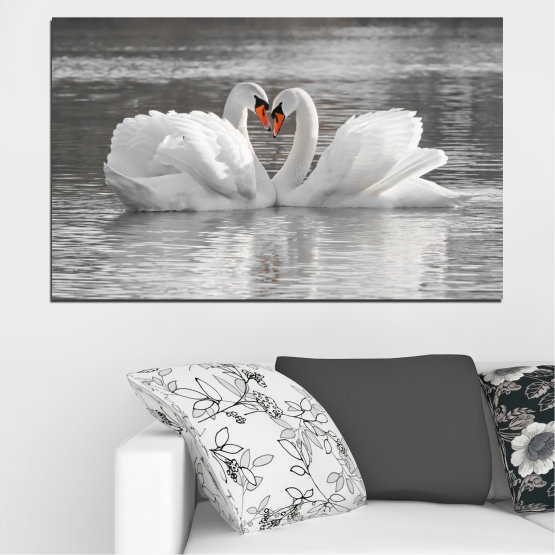 Canvas prints & wall decorative panels - 1 piece №0029 » Gray, White, Dark grey » Water, Birds, Heart, Swan Form #1