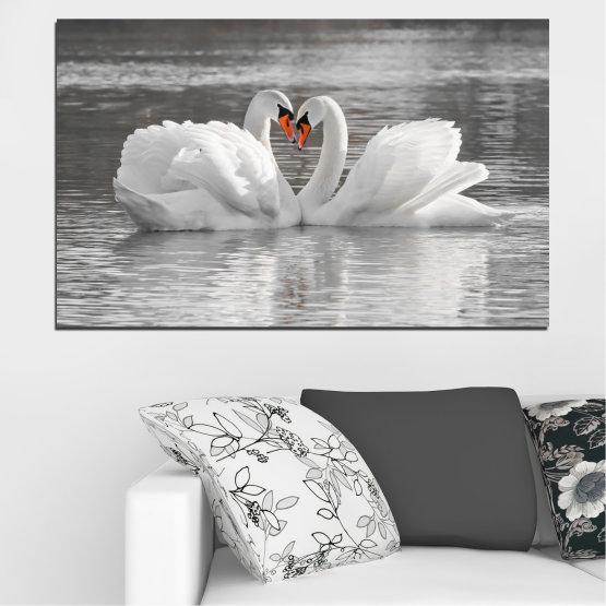 Декоративни панели и картини от канава - от 1 част №0029 » Сив, Бял, Тъмно сив » Вода, Птици, Сърце, Лебед Form #1