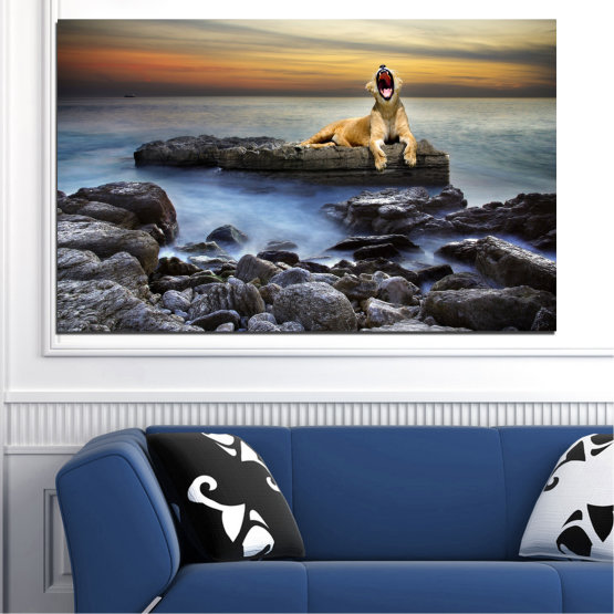 Canvas prints & wall decorative panels - 1 piece №0030 » Brown, Black, Gray, Beige, Dark grey » Animal, Sea, Water, Sunset, Rocks, Tiger Form #1
