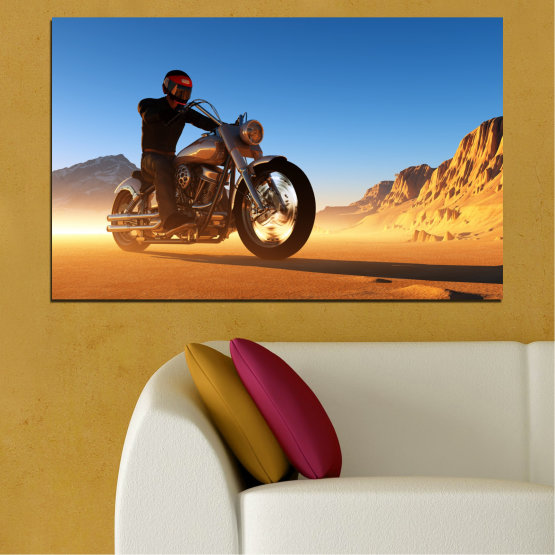 Canvas prints & wall decorative panels - 1 piece №0031 » Blue, Turquoise, Yellow, Orange, Brown » Desert, Vehicle, Motor Form #1