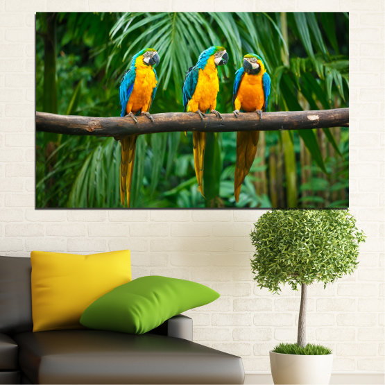 Canvas prints & wall decorative panels - 1 piece №0032 » Green, Brown, Black, Gray, Dark grey » Forest, Birds, Parrot Form #1