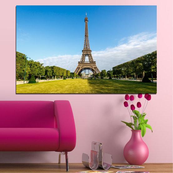 Canvas prints & wall decorative panels - 1 piece №0033 » Blue, Turquoise, Black, Gray » Landmark, View, Eiffel tower, France, Paris, Capital Form #1