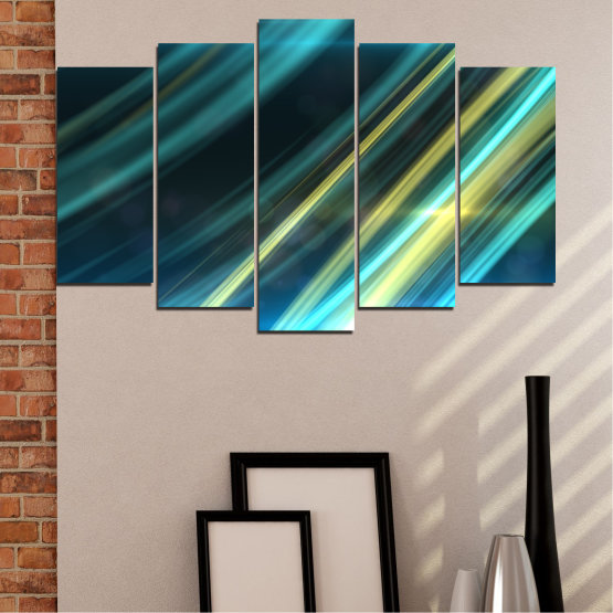 Canvas prints & wall decorative panels - 5 pieces №0073 » Blue, Turquoise, Black, Dark grey » Abstraction, Shine, Lines Form #1
