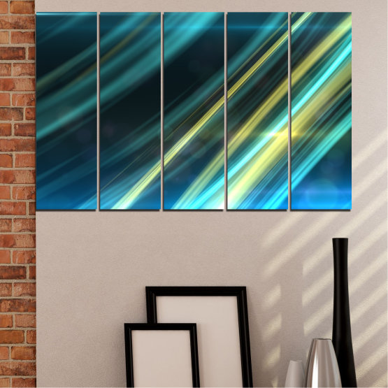 Canvas prints & wall decorative panels - 5 pieces №0073 » Blue, Turquoise, Black, Dark grey » Abstraction, Shine, Lines Form #2