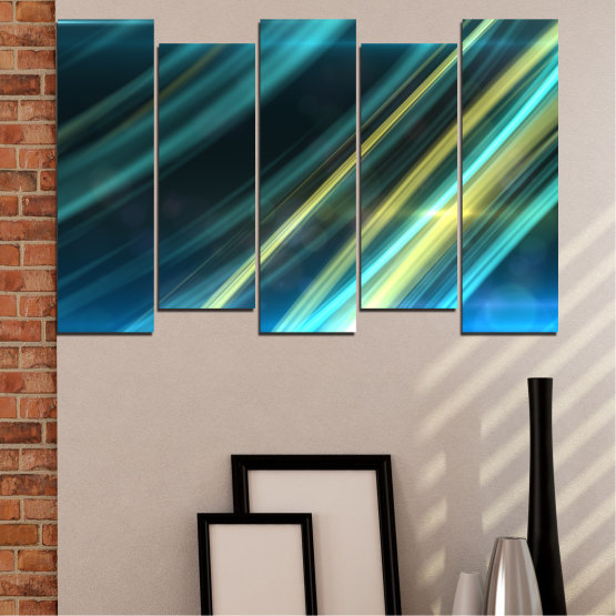 Canvas prints & wall decorative panels - 5 pieces №0073 » Blue, Turquoise, Black, Dark grey » Abstraction, Shine, Lines Form #3