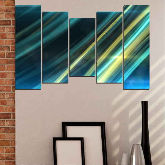 Canvas prints & wall decorative panels - 5 pieces №0073 » Blue, Turquoise, Black, Dark grey » Abstraction, Shine, Lines Form #4