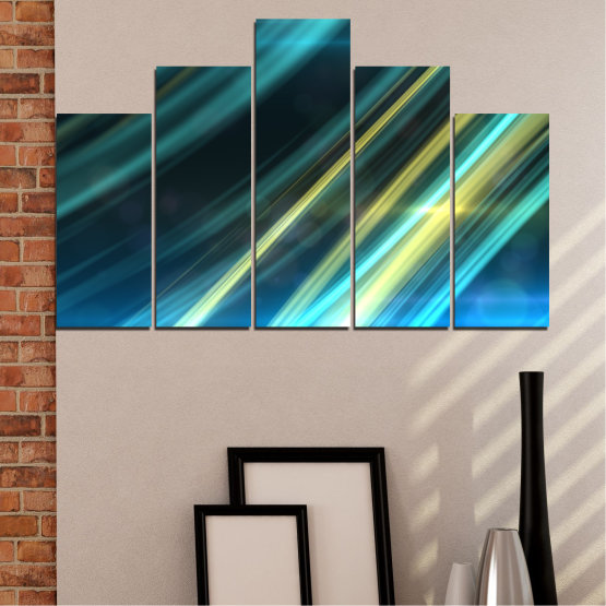 Canvas prints & wall decorative panels - 5 pieces №0073 » Blue, Turquoise, Black, Dark grey » Abstraction, Shine, Lines Form #5