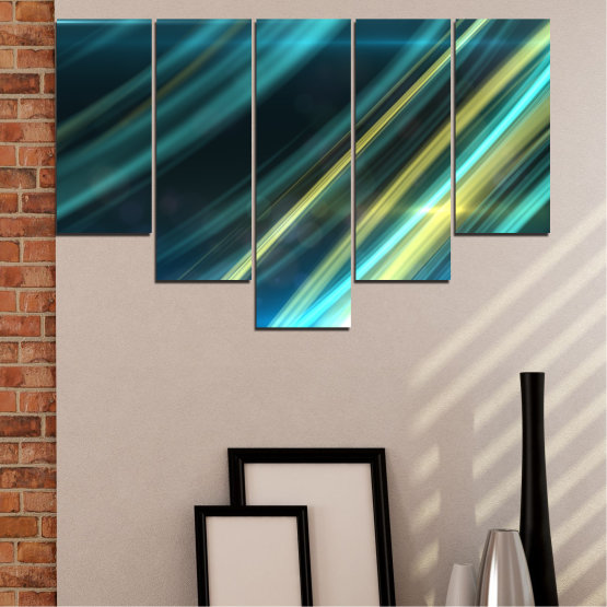 Canvas prints & wall decorative panels - 5 pieces №0073 » Blue, Turquoise, Black, Dark grey » Abstraction, Shine, Lines Form #6